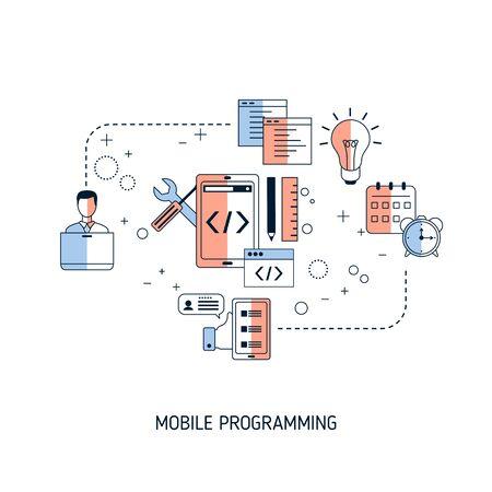 Concept de programmation mobile. Illustration vectorielle pour site Web, application, bannière, etc.