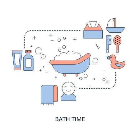 Baby bath time concept with baby care icons. Vector illustration. Illustration