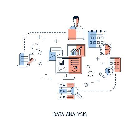 Data analysis concept. Vector illustration for website, app, banner, etc. Vetores