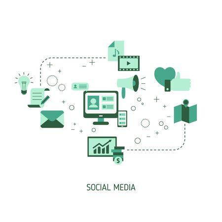 Concept de connexion aux médias sociaux avec des icônes de médias. Illustration vectorielle.