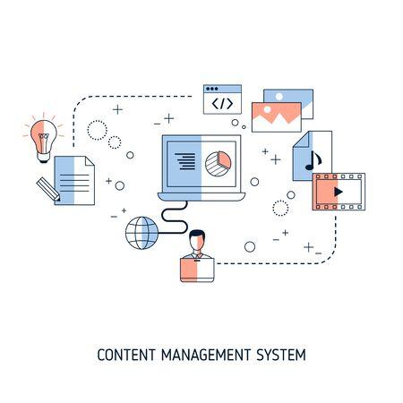 Content Management System concept.. Vector illustration for website, app, banner, etc.