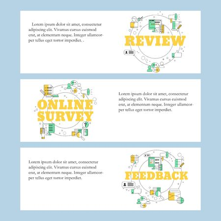Online review, Online survey and Customer feedback concepts for website, landing page, ui, web banners and promotional materials. Vector template. Иллюстрация