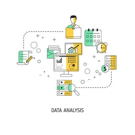 Data analysis concept. Vector illustration for website, app, banner, etc.