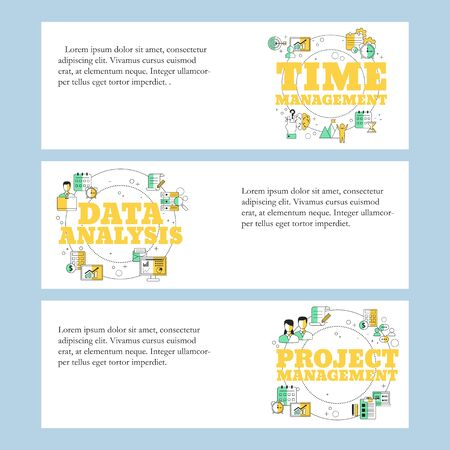 Project management, Data analysis and Time management concepts for website, landing page, ui, web banners and promotional materials. Vector template.
