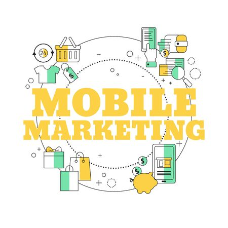 Mobile marketing concept. Vector illustration for website, app, banner, etc. Ilustracja