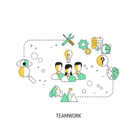 Teamwork concept. Vector illustration for website, app, banner, etc. Иллюстрация
