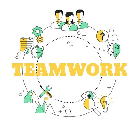 Teamwork concept. Vector illustration for website, app, banner, etc. Ilustracja