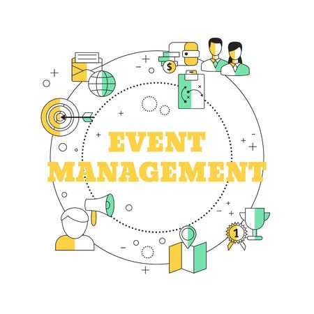 Event management concept with business icons. Vector illustration.