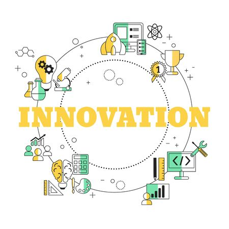 Innovation technology concept with icons. Vector illustration. Stock Illustratie
