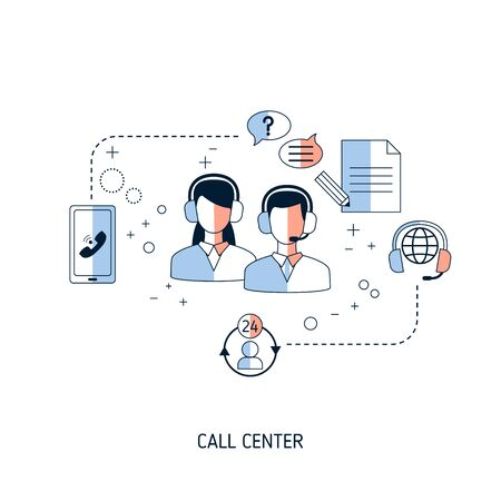 Call center concept. Vector illustration for website, app, banner, etc.