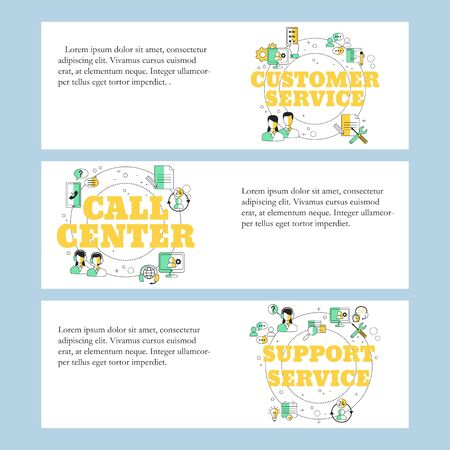 Customer service, Call center and Support service concepts for website, landing page, ui, web banners and promotional materials. Vector template. Ilustracja