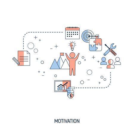 Notion de motivation. Illustration vectorielle pour site Web, application, bannière, etc. Vecteurs