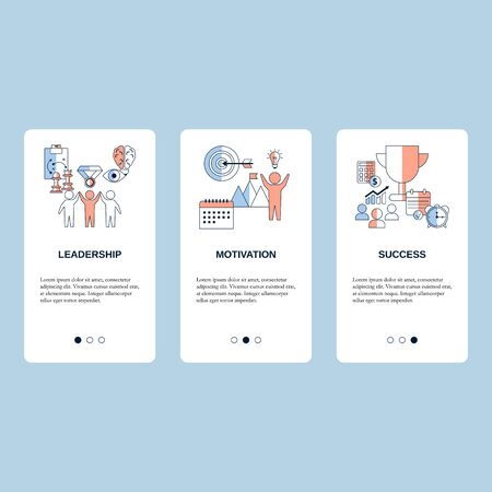 Motivation, Leadership and Success concepts for website, mobile website, landing page, ui. Vector template. Ilustracja