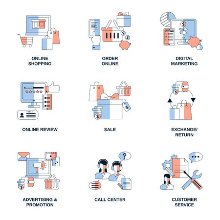 Online Shopping, Digital Marketing, Advertising Promotion elements vector icons.