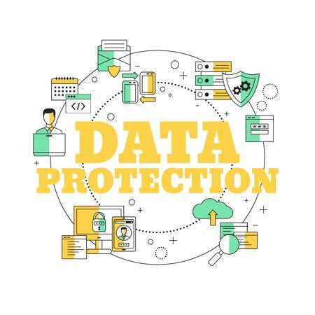 Data protection concept. Vector illustration for website, app, banner, etc.