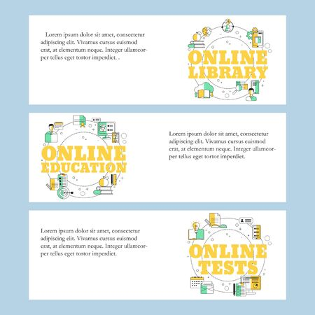 Online library, Online education and Online testing concepts for website, mobile website, landing page, ui. Vector template.