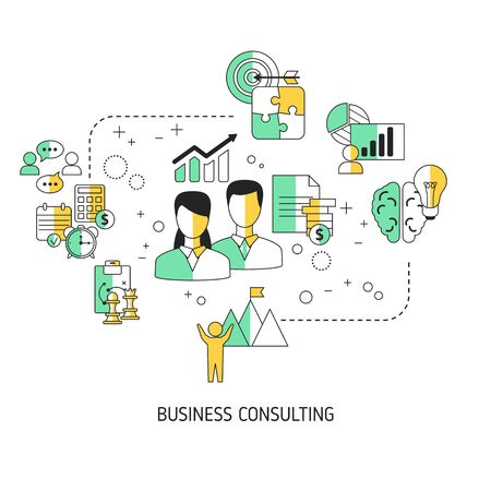 Business consulting concept with business icons. Vector illustration. Ilustración de vector
