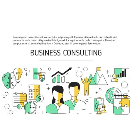 Business consulting background with business icons. Vector illustration. Vettoriali