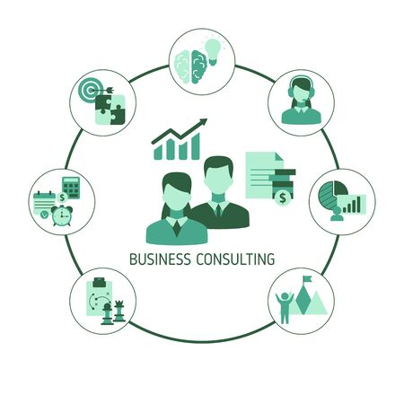 Business consulting concept with business icons. Vector illustration. Vettoriali