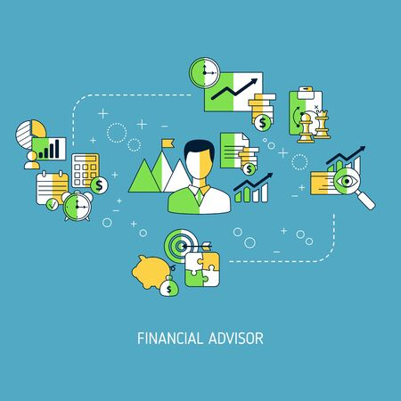 Financial advisor concept with business icons. Vector illustration. Illustration