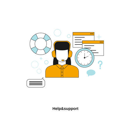 Help and support service concept. Vector template for website, mobile website, landing page, ui. Illustration
