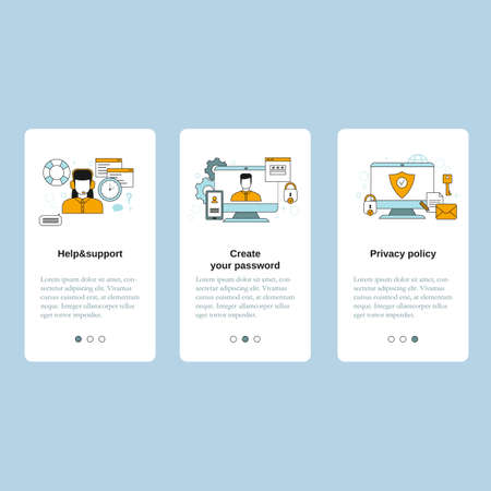Create your password, Help and support, Privacy policy concepts. Vector template for website, mobile website, landing page, ui.  イラスト・ベクター素材
