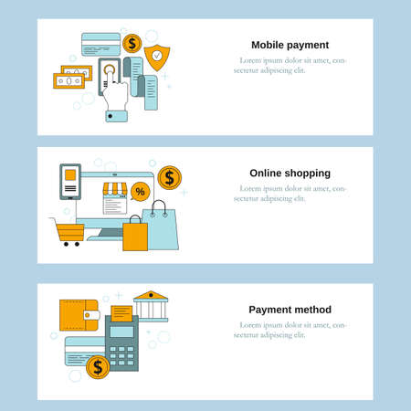 Mobile payment, Online shopping, Payment method concepts. Vector template for website, mobile website, landing page, ui. Çizim