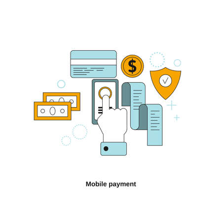 Mobile payment concept. Vector template for website, mobile website, landing page, ui.