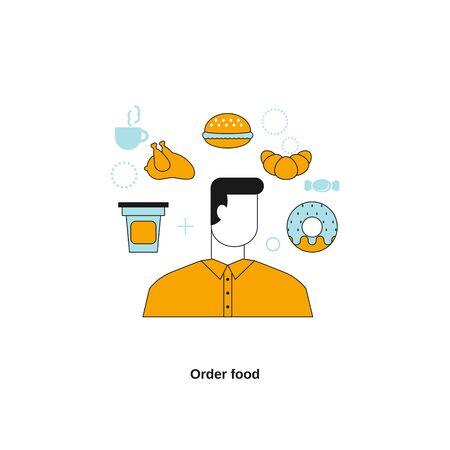 Order food. Vector template for website, mobile website, landing page, ui. Vectores