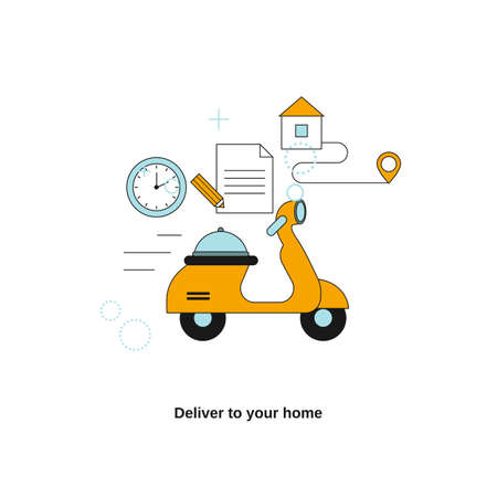 Deliver to your home. Food delivery. Vector template for website, mobile website, landing page, ui.