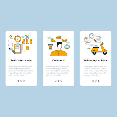 Select a restaurant, Order food, Deliver to your home. Vector template for website, mobile website, landing page, ui.