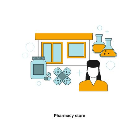 Pharmacy store concept. Vector template for website, mobile website, landing page, ui.