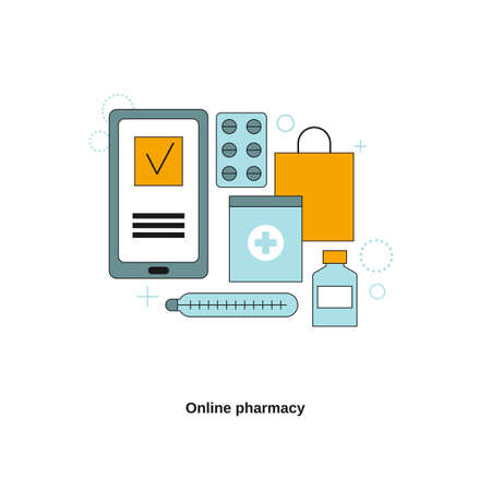 Online pharmacy concep. Vector template for website, mobile website, landing page, ui.  イラスト・ベクター素材