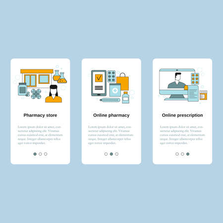 Pharmacy store, Online pharmacy, Online prescription. Vector template for website, mobile website, landing page, ui.