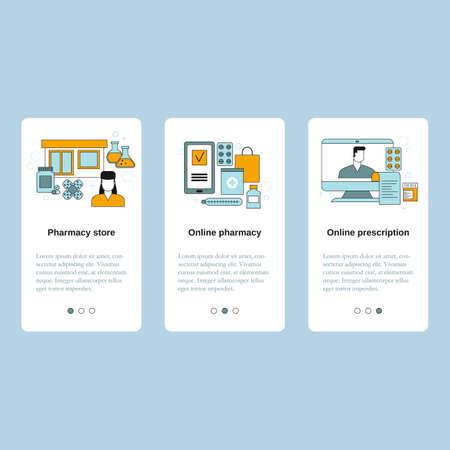 Pharmacy store, Online pharmacy, Online prescription. Vector template for website, mobile website, landing page, ui. 스톡 콘텐츠 - 150578136