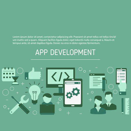 App development and design background. Making creative products. Vector illustration.  イラスト・ベクター素材