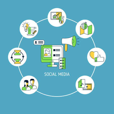 Social media connection concept with media icons. Vector illustration. 스톡 콘텐츠 - 150578138