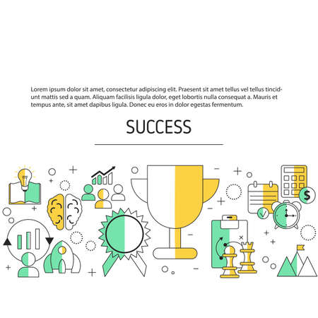 Business success background with business icons. Vector illustration.