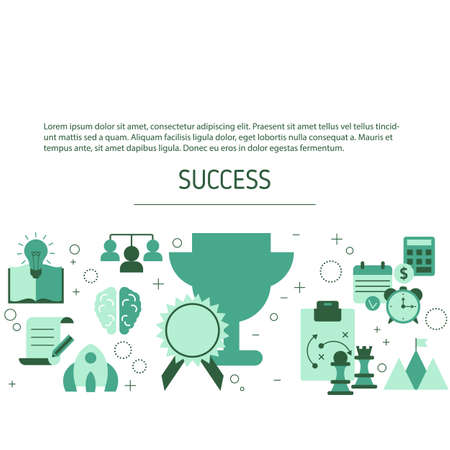 Business success background with business icons. Vector illustration. 스톡 콘텐츠 - 150578140