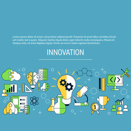 Innovation technology background with icons. Vector illustration.  イラスト・ベクター素材