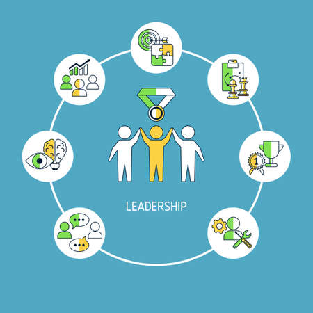 Leadership banner concept with business icons. Vector illustration.