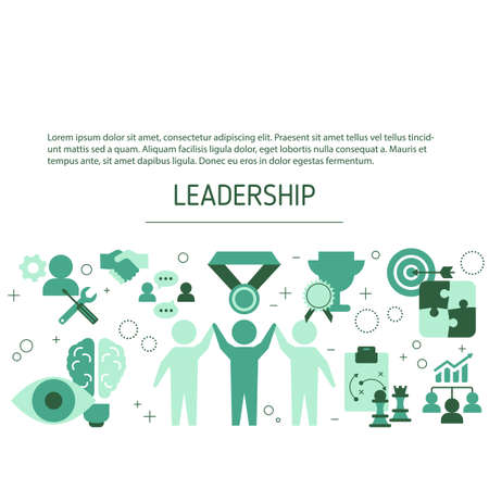 Leadership background with business icons. Vector illustration.