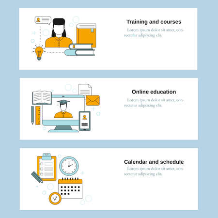 Training and courses, Online education, Calendar and schedule. Vector template for website, mobile website, landing page, ui. Vektorgrafik