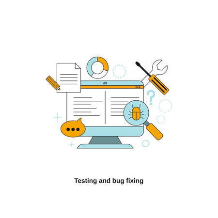 Testing and bug fixing concept. Vector template for website, mobile website, landing page, ui. Illusztráció