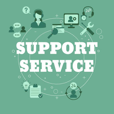 Support service concept. Help and assistance. Vector illustration.