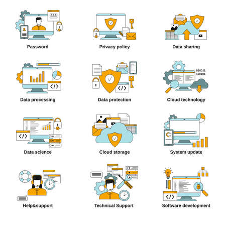 Information technology security. Set of data security related icons.
