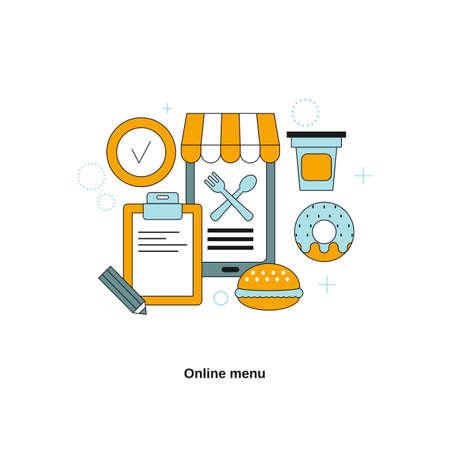 Online menu concept. Vector template for website, mobile website, landing page, ui.