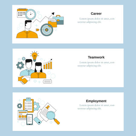 Recruitment service, Teamwork, Employment. Vector template for website, mobile website, landing page, ui. Ilustracje wektorowe
