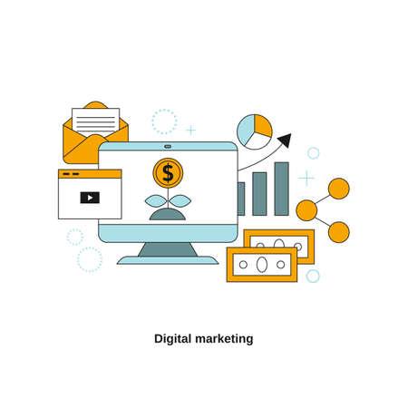 Digital marketing concept. Vector template for website, mobile website, landing page, ui.