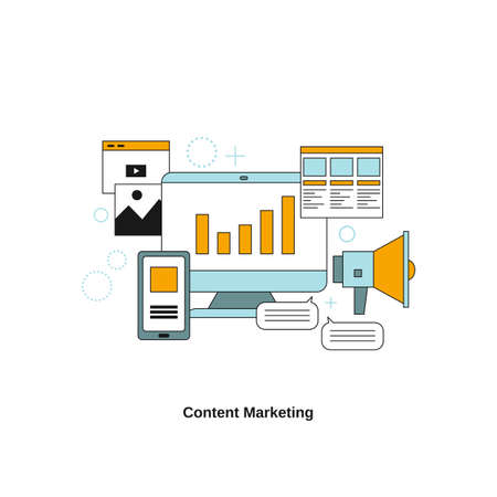 Content Marketing concept. Vector template for website, mobile website, landing page, ui.